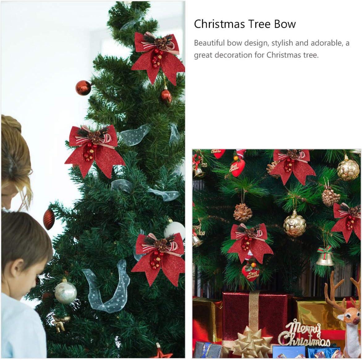 4 unidades dise/ño de lazo con purpurina HEALLILY Arco decorativo para decoraci/ón navide/ña