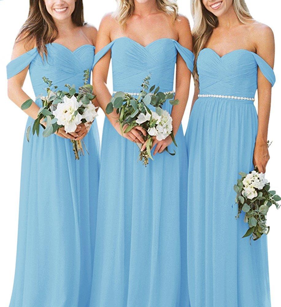 Anna\'s Bridal Women\'s Off Shoulder Bridesmaid Dresses Long Chiffon ...