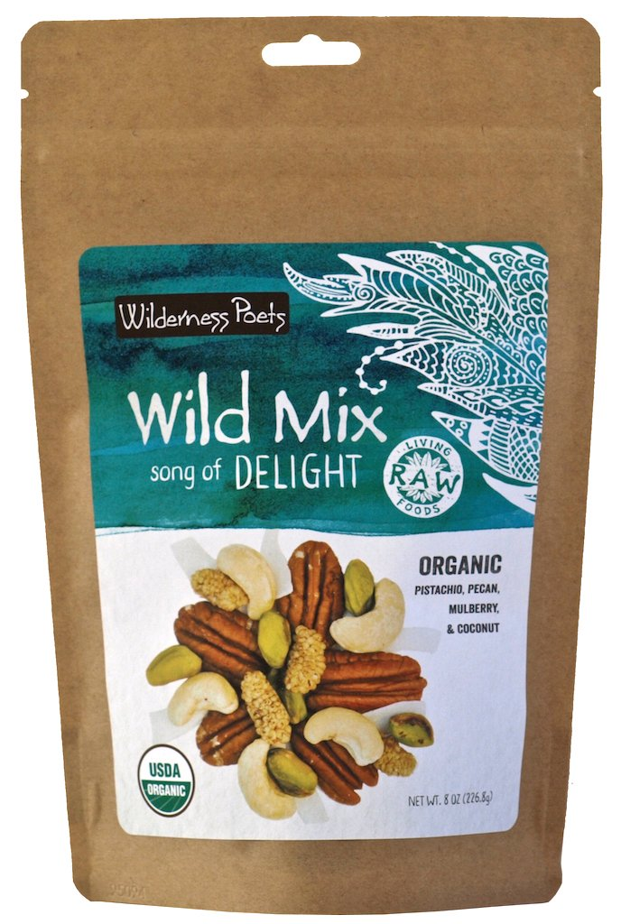 Wilderness Poets, Song of Delight Wild Mix - Organic Raw Trail Mix - Pecans, Cashews, Mulberries, Pistachios, Coconut Ribbons - 8 Ounce