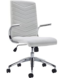 Office Hippo Leather Executive Office Chair With Fixed Arms, Faux Leather,  White
