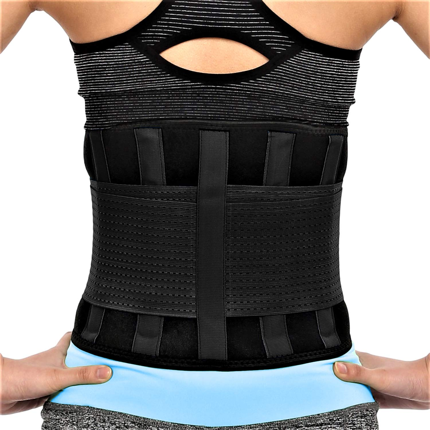 RiptGear Back Brace for Men and Women - Back Pain Relief Support for Lower Back Pain and Hip Pain - Lumbar Severe Back Pain Relief for Herniated Disc and Sciatica (Black, Small - 23'' to 27'')
