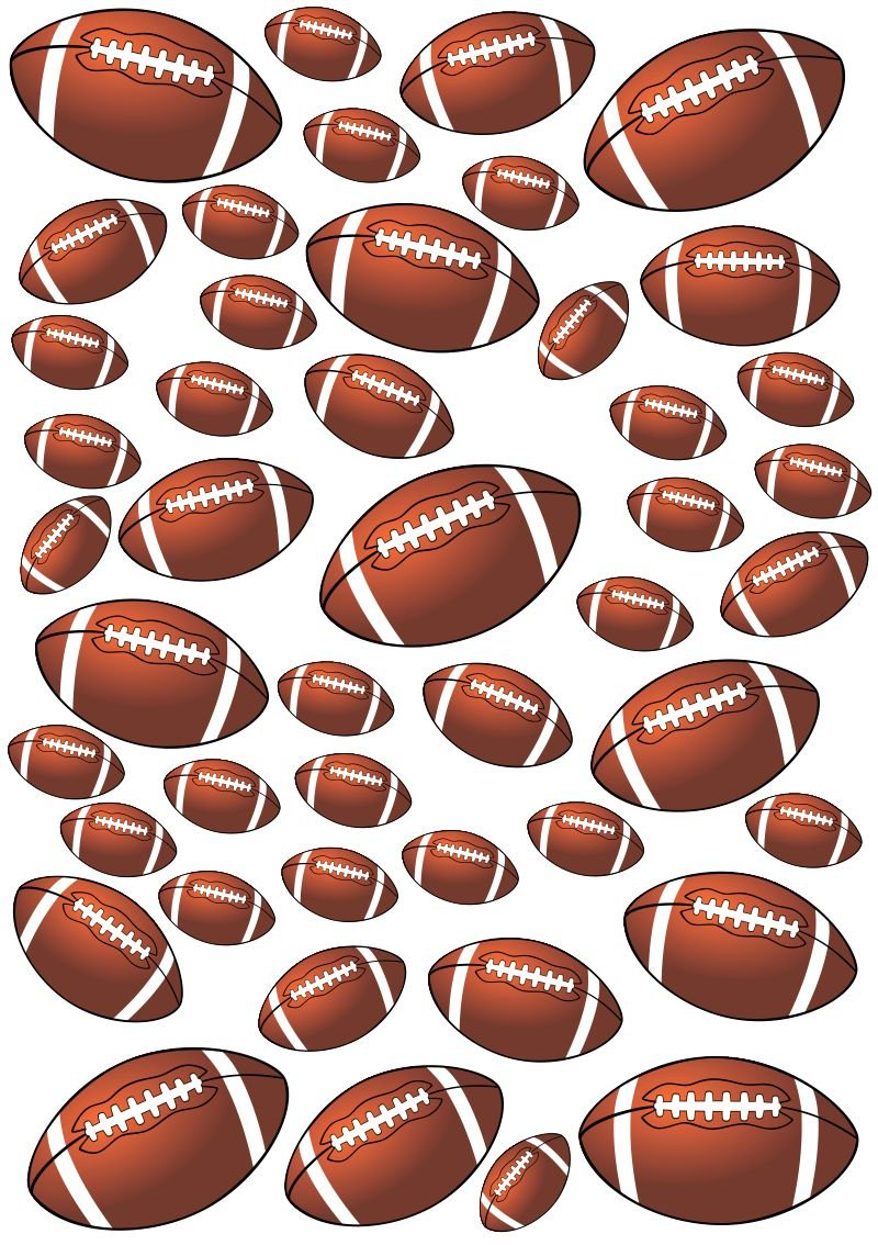 45 Footballs Football Peel and Stick Vinyl Stickers Wall Art Graphics Decal