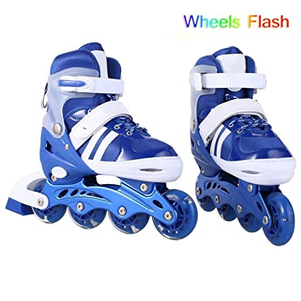 f819a656355 Amazon.com : rateim Adjustable Inline Skates for Kids Girls with PU light  UP wheels, Adjustable Rollerblades for Girls Blue Pink : Sports & Outdoors