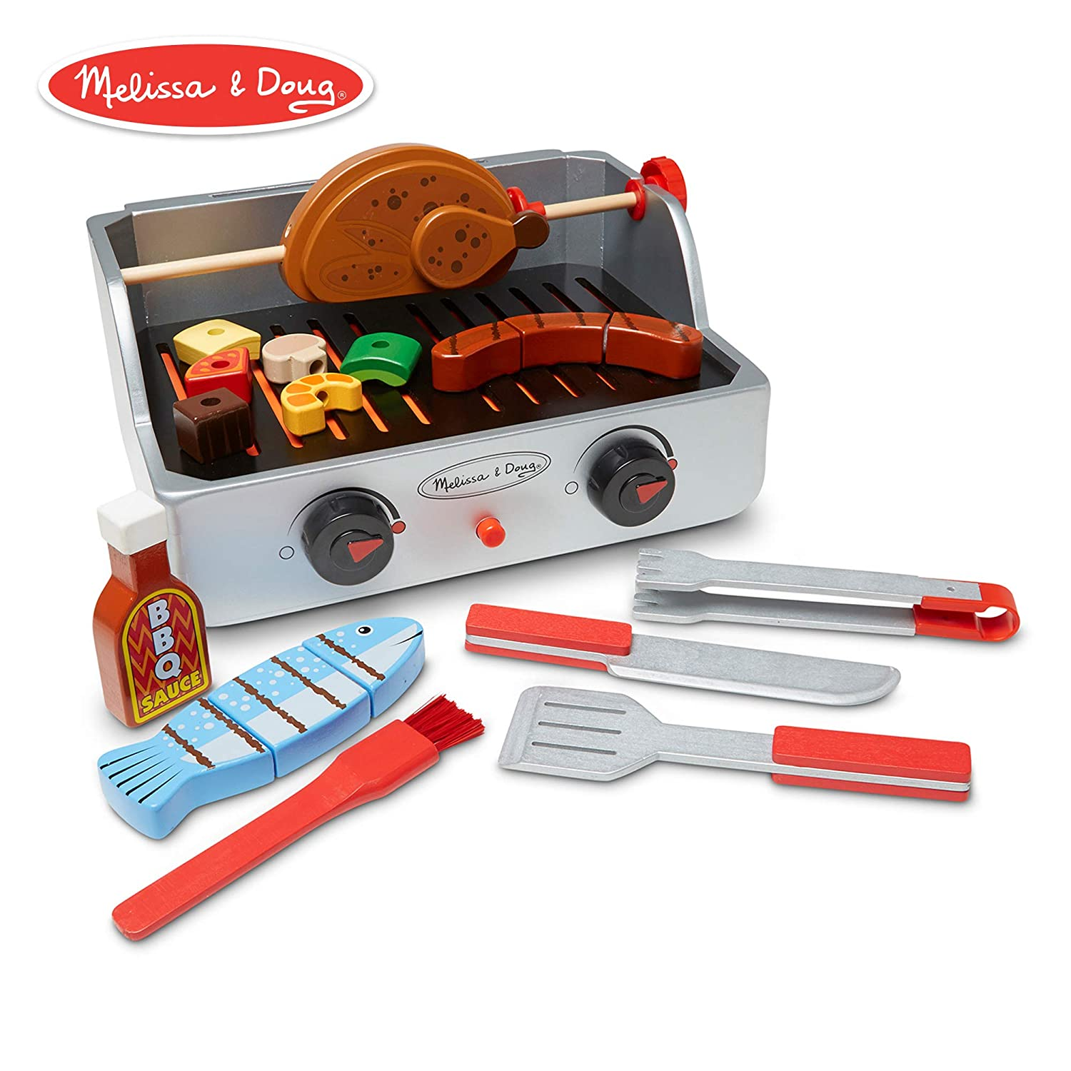 Melissa & Doug Wooden redisserie & Grill Barbecue Play Set (24 Pieces, Pretend Play Food Toy)