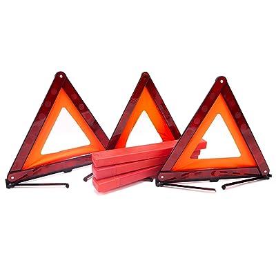 Fasmov Triple Warning Triangle Emergency Warning Triangle Reflector Safety Triangle Kit,3-Pack: Automotive