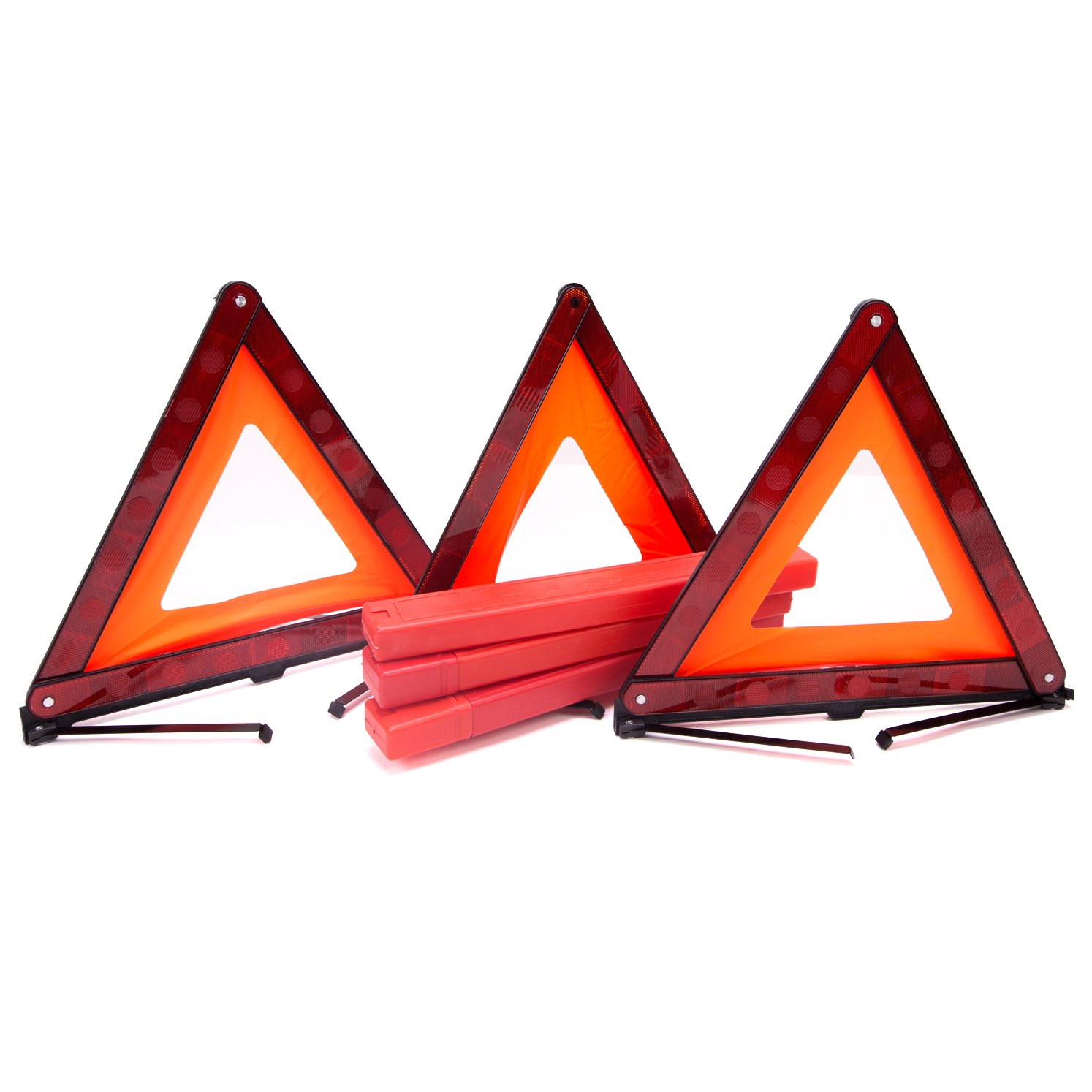 Fasmov Triple Warning Triangle Emergency Warning Triangle Reflector Safety Triangle Kit,3-Pack by Fasmov