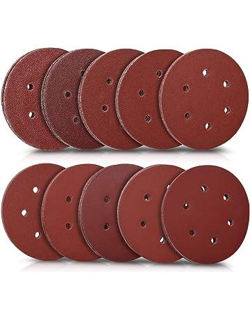 Navaris pack 100x papel de lija - Papeles de lija para lijadoras excéntricas de 150MM -
