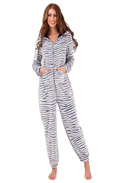 Para mujer pijama con capucha para mujer Boutique diseño de piel de cebra o cama de