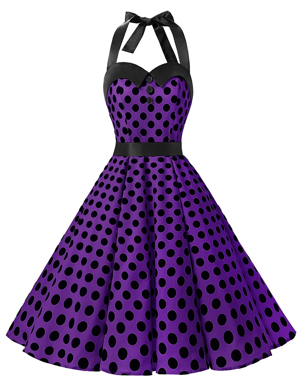 TALLA XXL. Dressystar Vestidos Corto Cuello Halter Estampado Flores y Lunares Vintage Retro Fiesta 50s 60s Rockabilly Mujer Purple Black Dot XXL