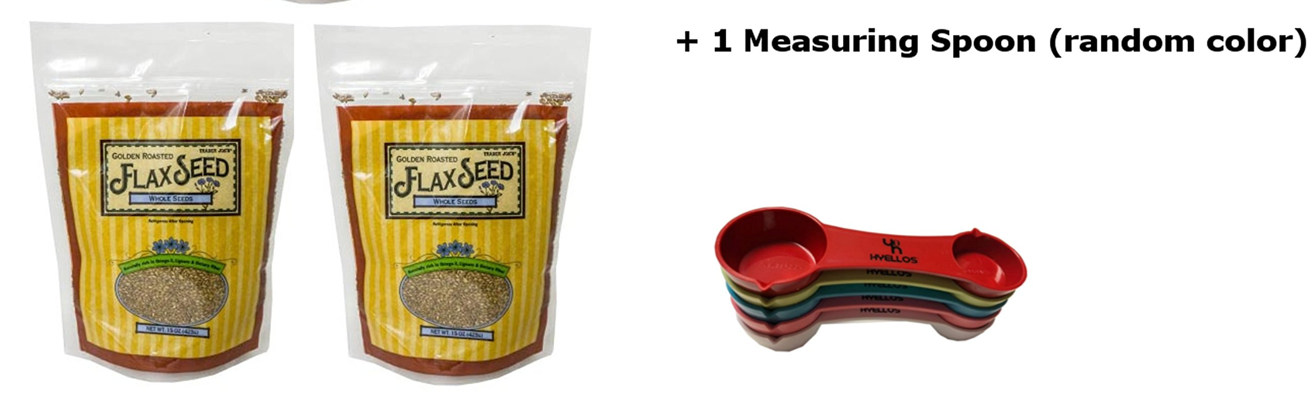 2 pack Trader Joe's Golden Roasted Flax Seed and Exclusive Hyellos Multi-Use Measuring Spoon
