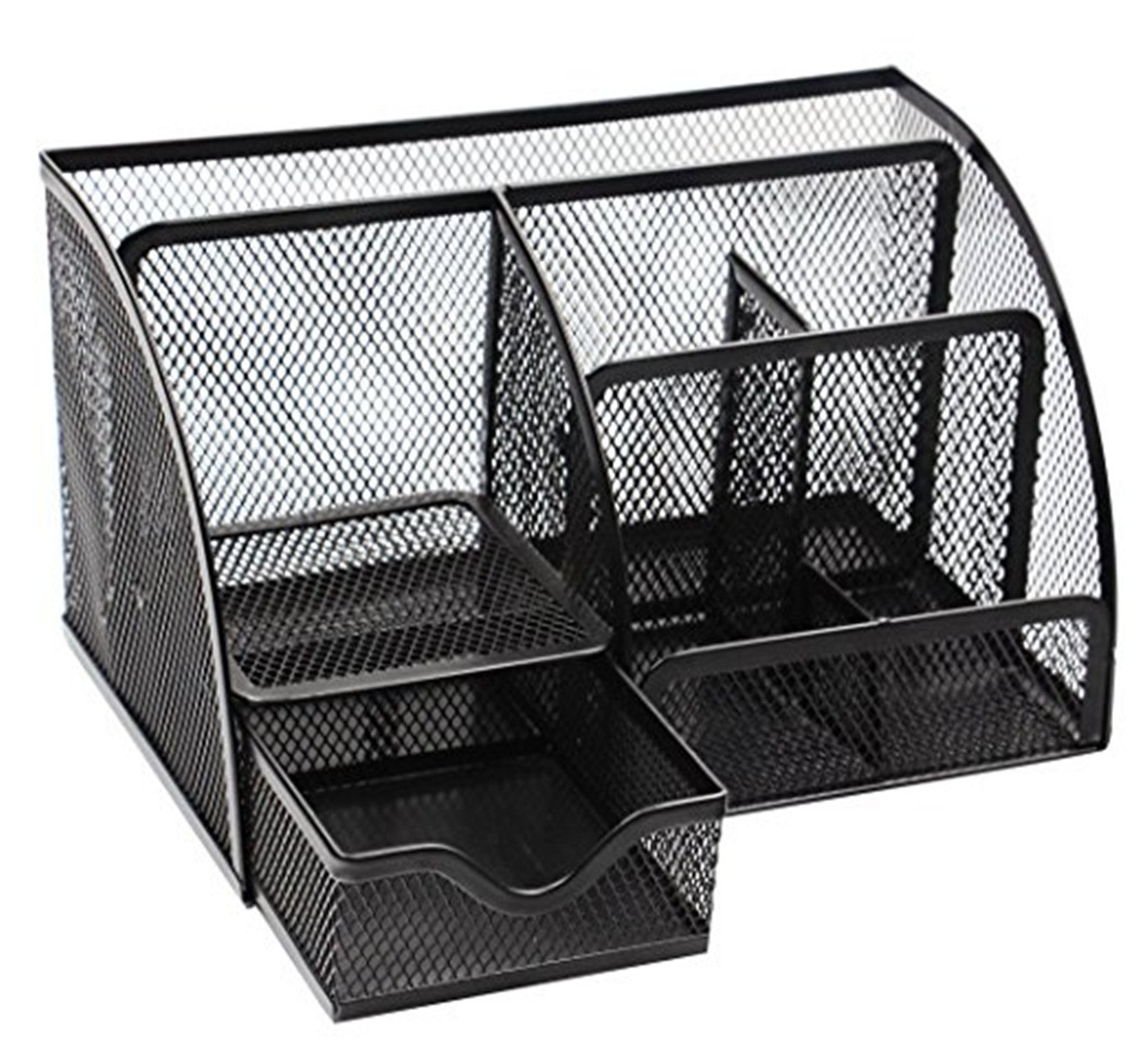 Space Saving Desk Tidy Multi-functional Metal Wire Mesh 5 Compartments and 1 Slide Drawer Desktop Collection Office / School Supply Desktop Organizer Caddy W/ Drawer (Black)