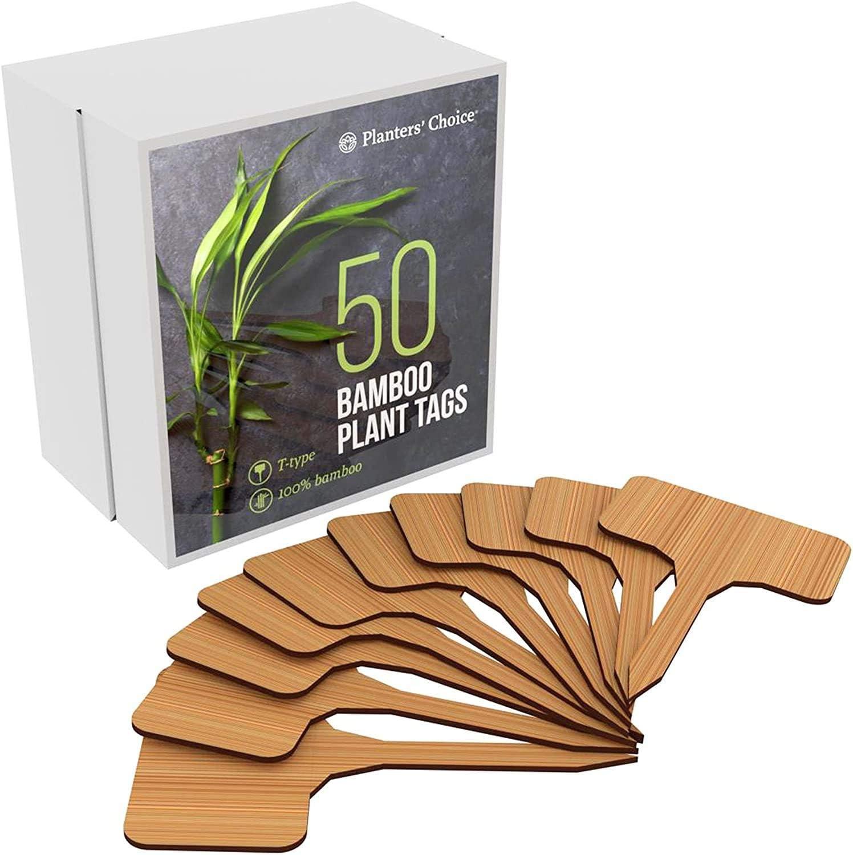 50 Etiquetas de Plantas de Bambú en Caja de Regalo (tipo T) | Etiquetas de Plantas | Marcadores