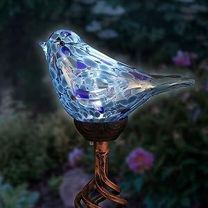 "Exhart Solar Teal Hand-Blown Glass Bird Yard Stakes -Bird Garden Stake w/Solar LED Lights in Spiral Bronze Finial Design - Bird Metal Stakes, Bird Decor, Garden Art Bird Ornaments, 7"" L x3 W x30 H"