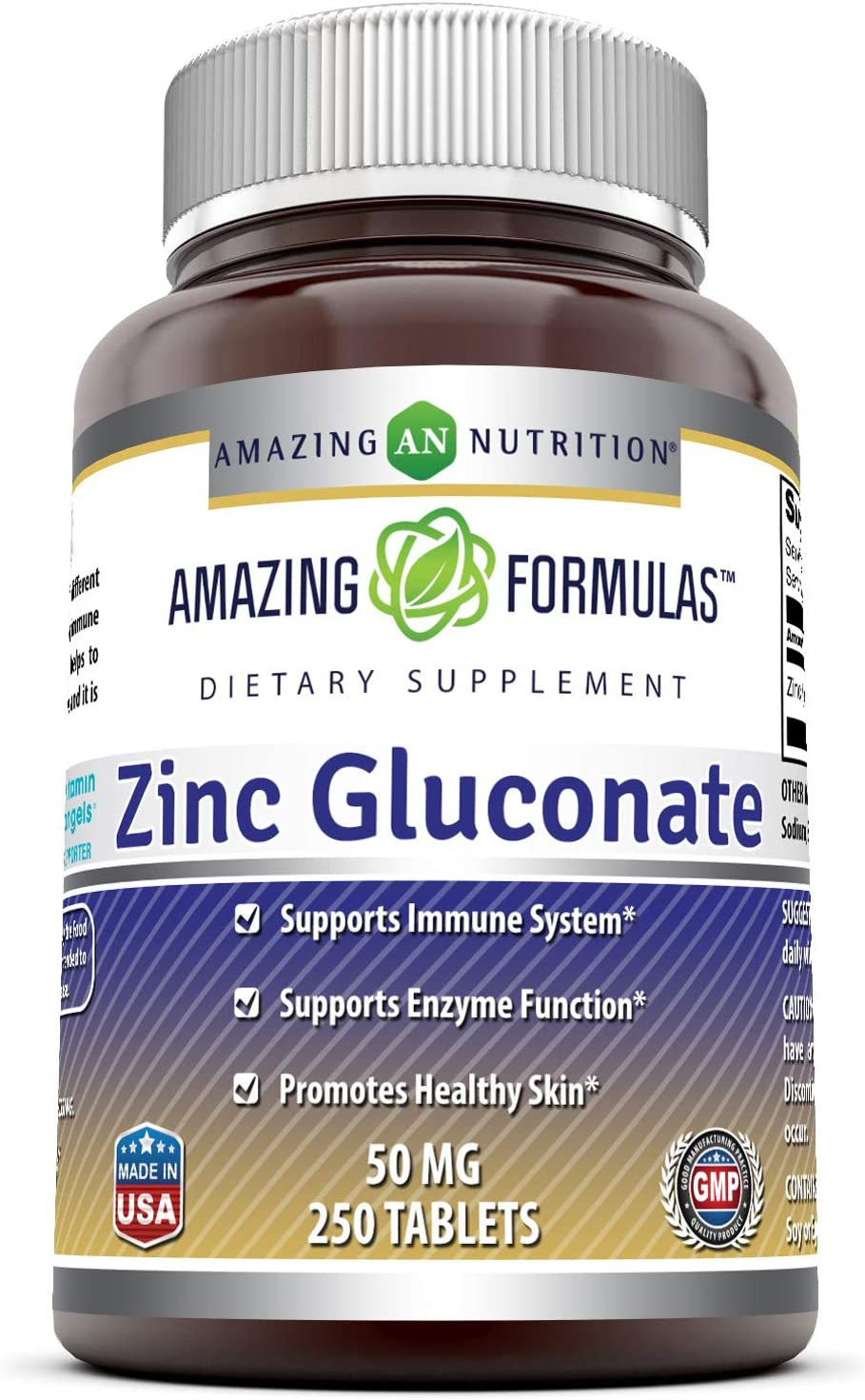 Amazing Formulas Zinc Gluconate - 50 mg, 250 Tablets (Non-GMO,Gluten Free) - Supports Immune System - Supports Enzymes Function - Promotes Healthy Skin.