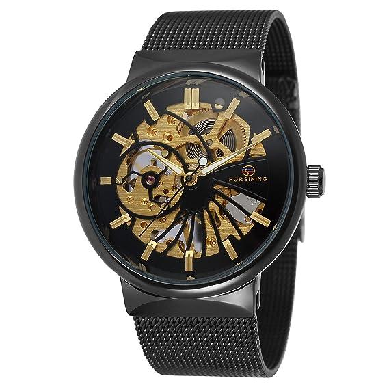FORSINING - Reloj de Pulsera para Hombre con diseño de Esqueleto de Malla y Acero Inoxidable: Amazon.es: Relojes