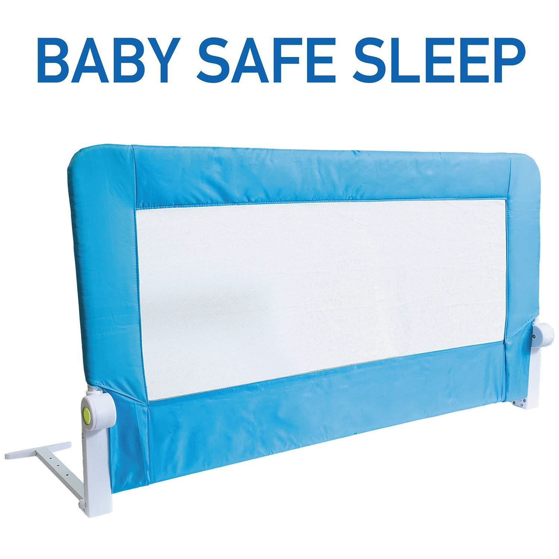 Tatkraft Guard Barandilla para Cama de Bebé Abatible Anticaidas Acero/Plástico/Poliester Azul 120X47X65