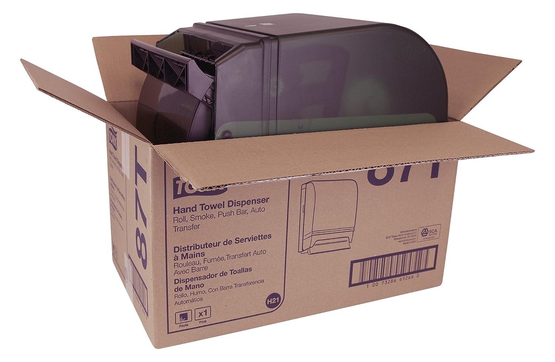 Tork 87T Hand Towel Roll Dispenser, Push Bar, Auto Transfer, Plastic Door w/Steel Back, 15.75