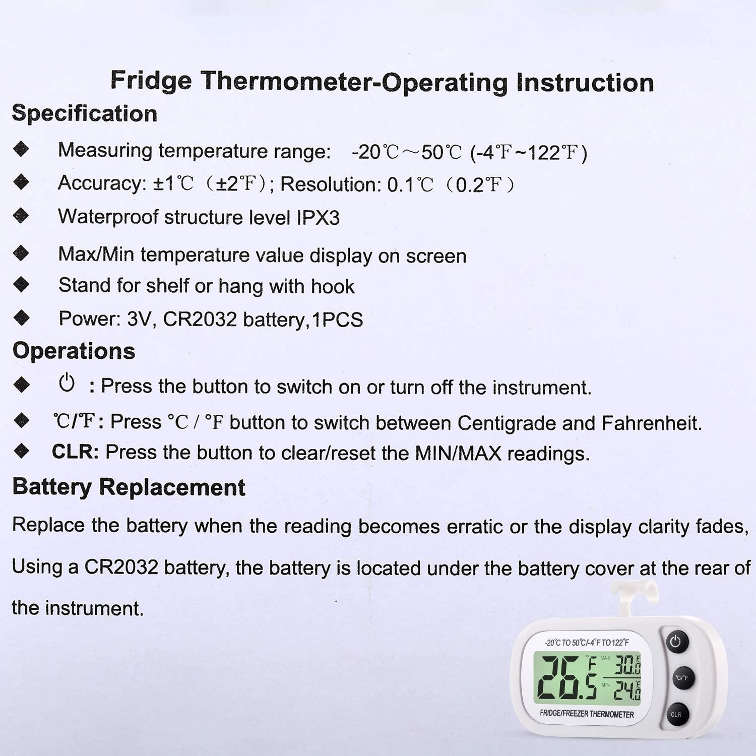 9 Digital Refrigerator Freezer Thermometer Fridge Room Thermometer Waterproof Cooler Temperature Thermometer with Max Min Record Function Large LCD Display