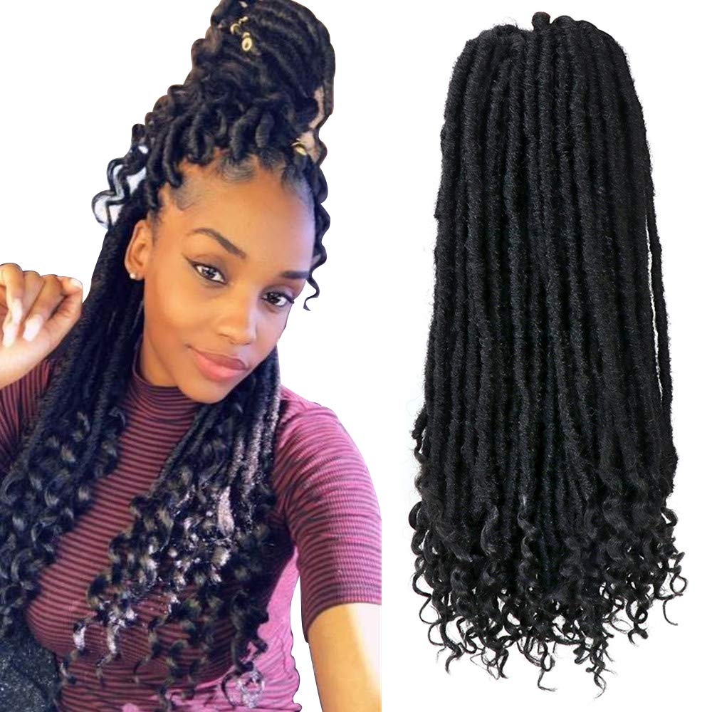 Amazon Com 6 Pack Lot Faux Locs Crochet Hair For Women 20 Inch Straight Goddess Locs Crochet Braiding Hair With Curly Ends Soft Synthetic Braiding Hair Extension 1b Beauty