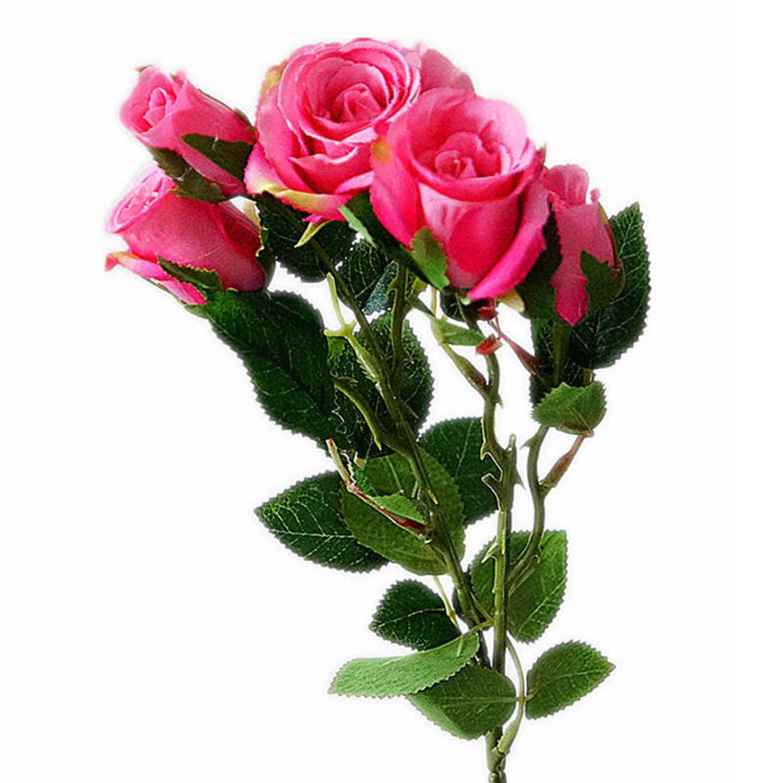 造花5本/枝 新鮮なバラの造花 本物のような手触り バラの花 ホームウェディングパーティーの装飾 フェイクの小さなバラの花 ブーケ NA B07QRQZXDV A2