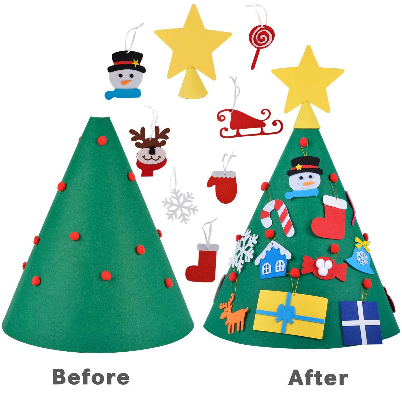 Bageek Árbol de Navidad DIY, niño Árbol de Navidad Redondo árbol de Navidad pequeño Navidad Decoración Colgante para Niños Mini arbol de Navidad Cafe ...