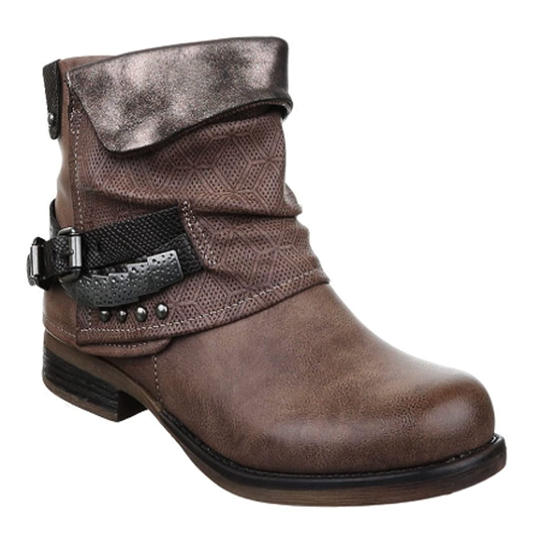 King Of Shoes Damen Stiefeletten Biker Boots Nieten Schnallen Lederoptik  95  Amazon.de  Schuhe   Handtaschen f841a081f3