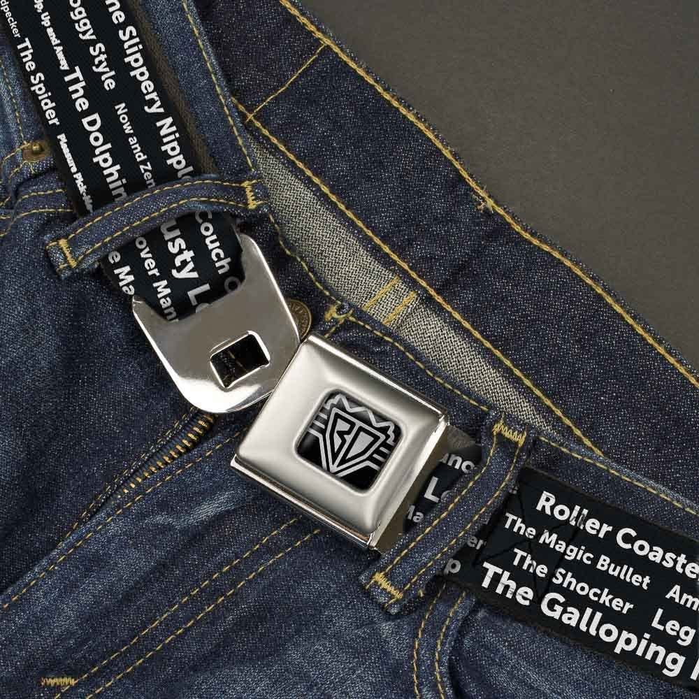 24-38 Inches BUCKLE-DOWN INC Unisex-Adults Buckle-Down Seatbelt Belt Sex Positions Quote Regular Multicolor