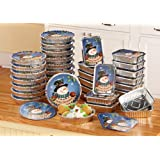 Collections Etc. Foil Snowman Christmas Treat Tins with Rectangular and Round Holiday Containers, Set of 36