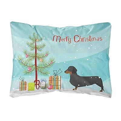 Caroline's Treasures BB2900PW1216 Dachshund Merry Christmas Tree Canvas Fabric Decorative Pillow, 12H x16W, Multicolor : Garden & Outdoor