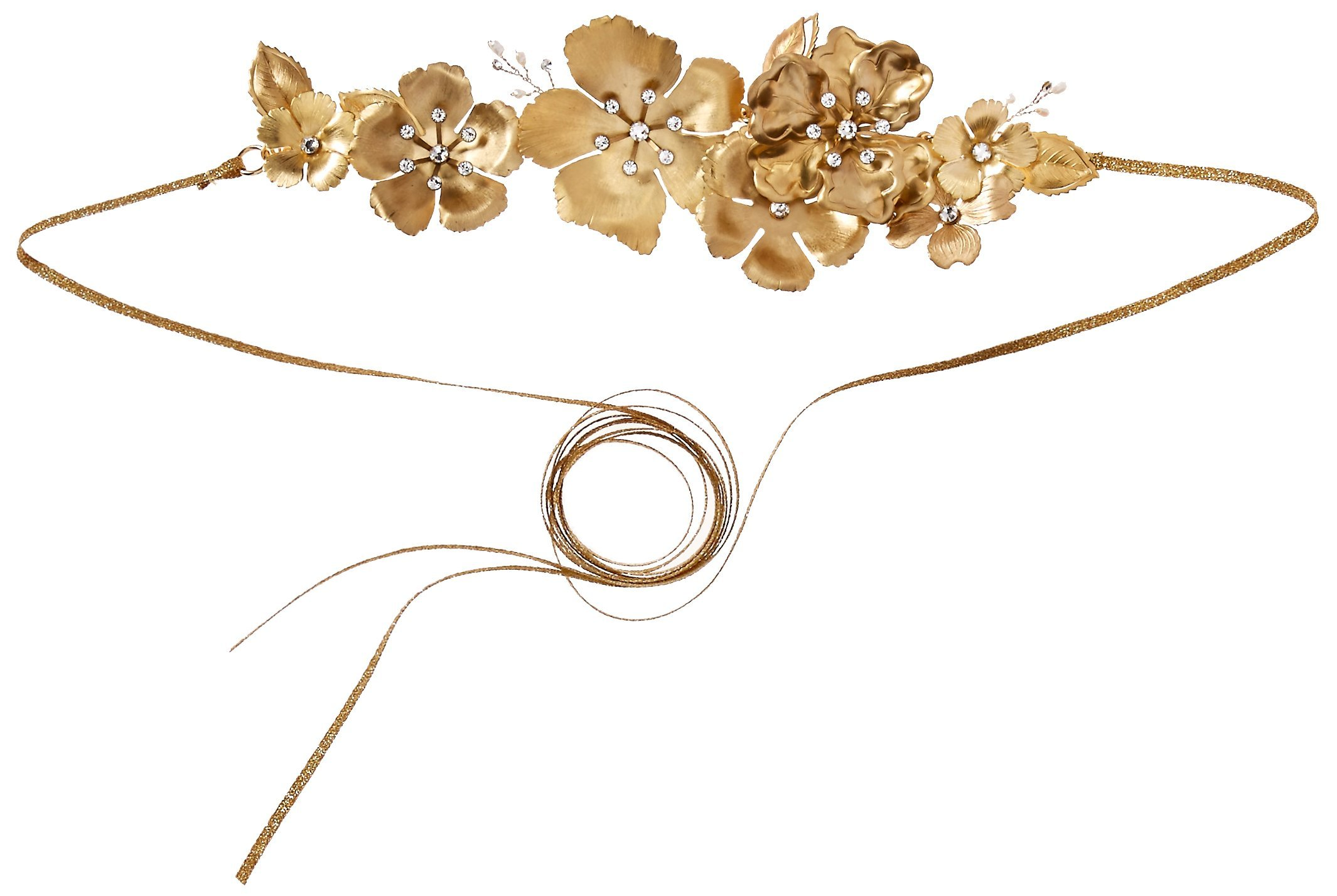 Twigs & Honey Women's Antique Garden Flower Bridal Belt, Brass Gold, One Size