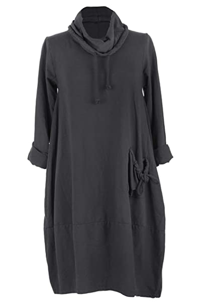 ca96c265a9 TEXTURE Womens Italian Lagenlook Plain Cowl Pocket Cotton Tulip Tunic Midi  Dress (Dark Grey
