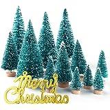 KUUQA 36Pcs Mini Sisal Snow Frost Christmas Trees Bottle Brush Trees Plastic Winter Snow Ornaments Tabletop Trees with…