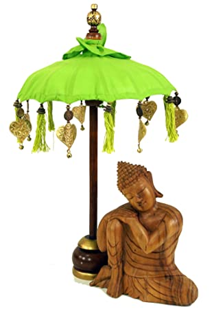 Guru-Shop Paraguas Ceremonial, Decoración Asiática Paraguas Pequeño - Limón, 68x40 cm,