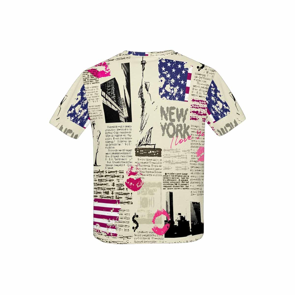 XS-XL INTERESTPRINT Childs T-Shirt Newspaper New York with The Sketch of Statue of Liberty