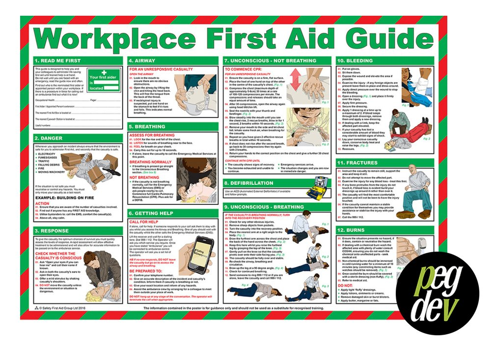 FIRST AID LAMINATED HEALTH & SAFETY POSTERS A2 LANDSCAPE DURABLE HAZARD SIGN - WORKPLACE FIRST AID GUIDE PDL