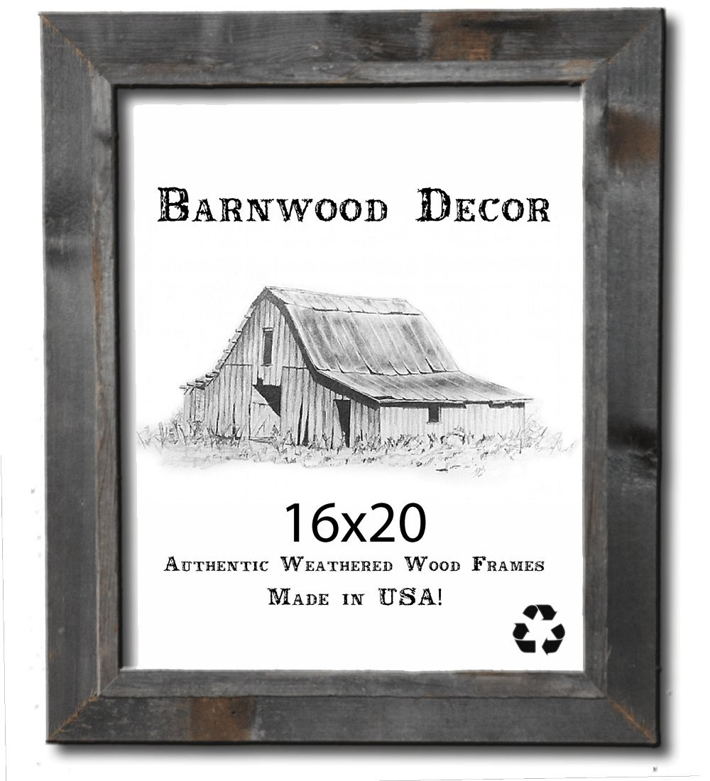 16x20 Picture Frames - Barnwood Reclaimed Signature Wall Frame with Plexi by Barnwood Decor of OKC