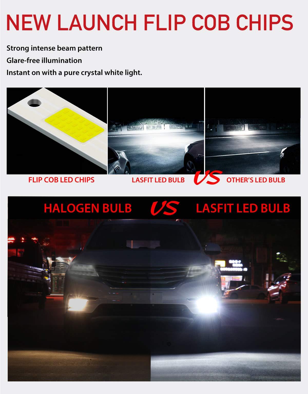 LASFIT 5202/5201/2504 LED Fog Light 60W 7600LM 6000K Cool White LED Bulbs-Plug&Play (2 pack) by LASFIT (Image #4)
