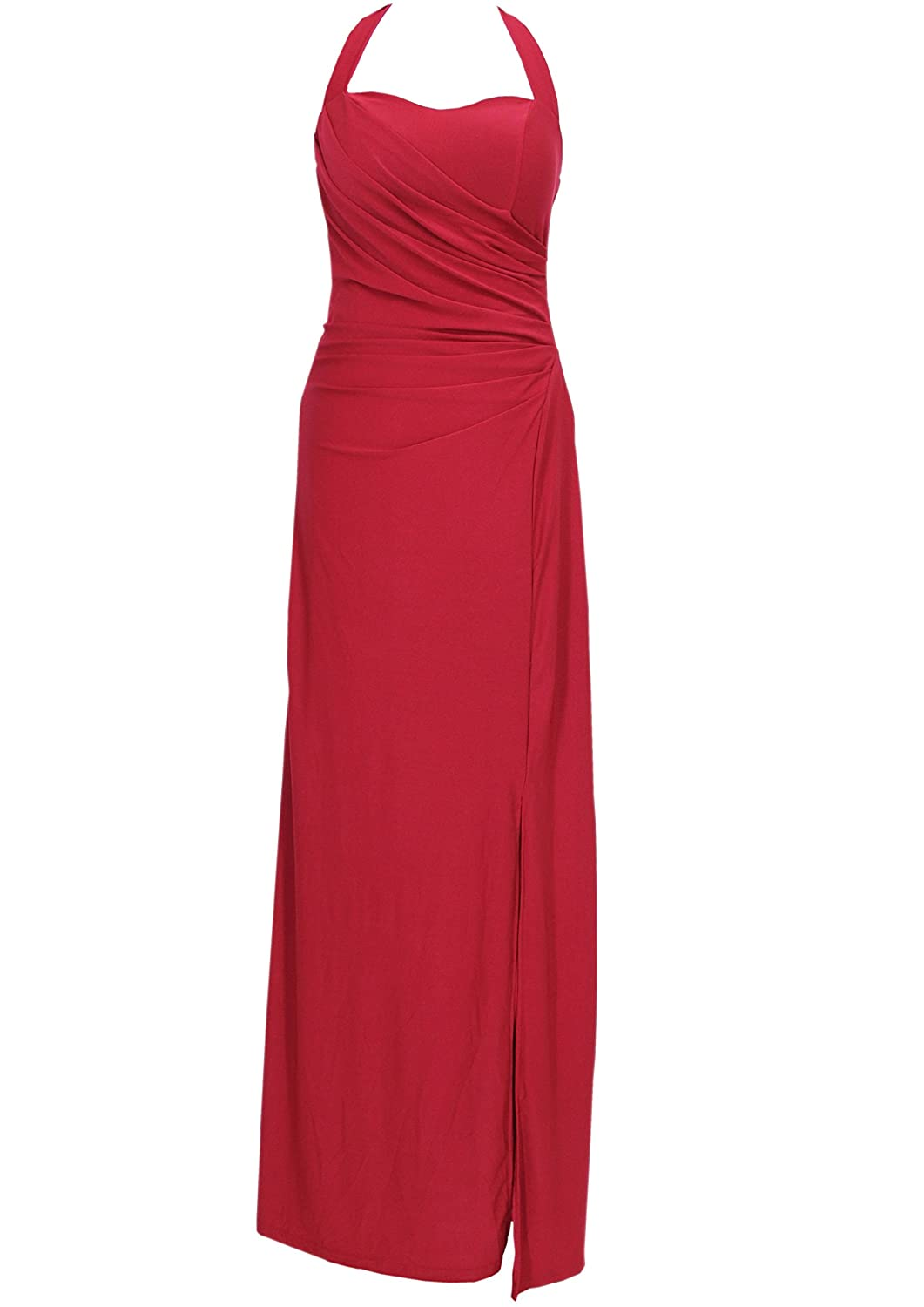 KAJ Moden Long Jersey Amanda Women's Halter Neck prom dress with side slit, Various Colours and Sizes S?-?XL