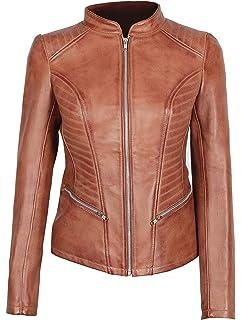 Amazon.com: Chaqueta de cuero marrón para mujer – auténtica ...