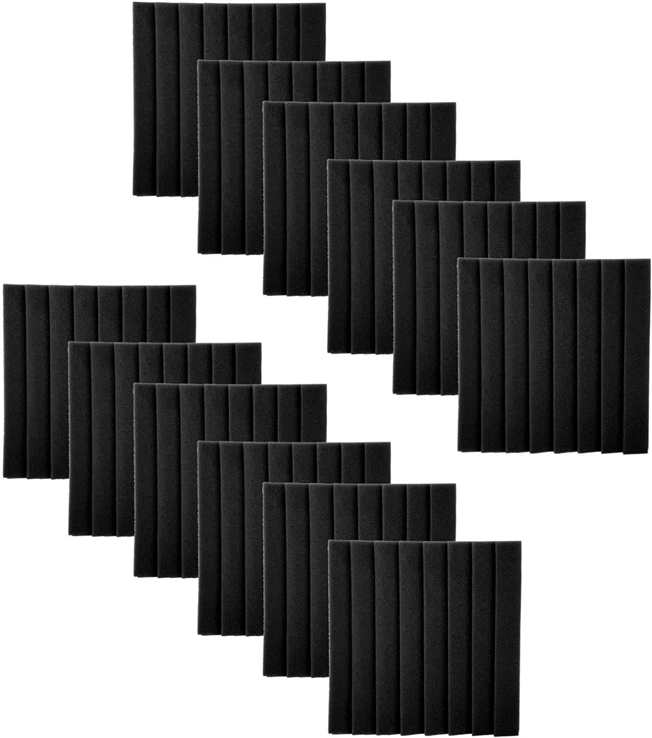 12Pcs Sound‑Absorption Panels, 8 Grooves Triangle Acoustic Foam Board for Recording Studios, Home Theaters, Karaoke Rooms(black)
