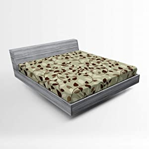 Lunarable Leaf Fitted Sheet, Pattern with Vines Leaves Nature Curvy Branches Plants Garden Floral Illustrated Art, Soft Decorative Fabric Bedding All-Round Elastic Pocket, Queen Size, Beige Brown