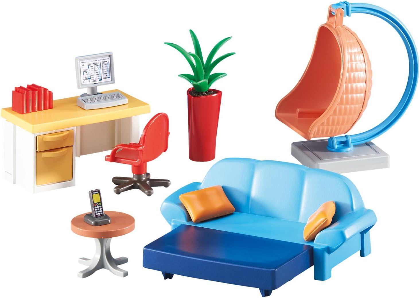 Outletdelocio Playmobil 6457 Salle De Sejour Juvenile Avec Bureau Et A Bascule Pendentif De Osier Amazon Fr Cuisine Maison