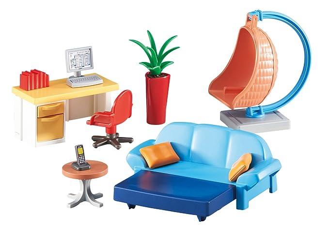 Playmobil 6457. Sala de estar juvenil con escritorio y mecedora ...