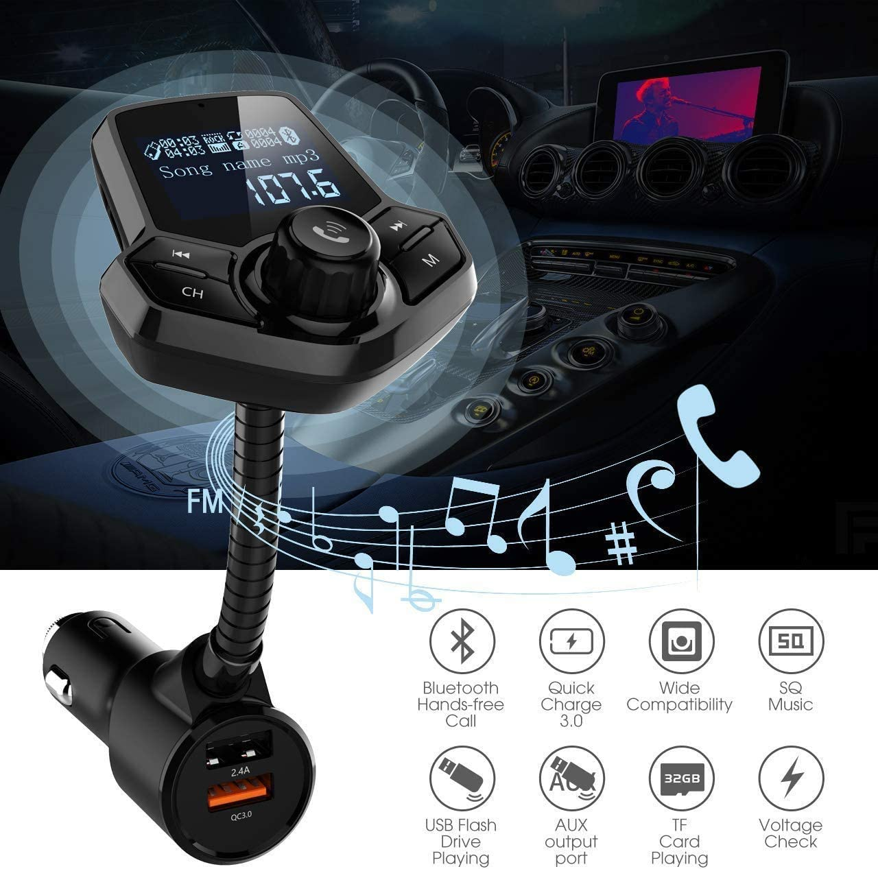 in-Car Bluetooth FM Transmitter Wireless Radio Adapter Hands-Free Car Kit with 1.44 Inches Display TF Card Mp3 Player Dual USB Ports AUX Input//Output Voltmeter Function for Smart Phones Audio Players JFONG CBFMCAR-M
