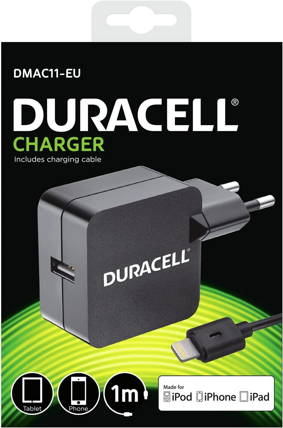Duracell 1 Port 2.4A Chargeur pour Apple iPhone 55SiPad 4