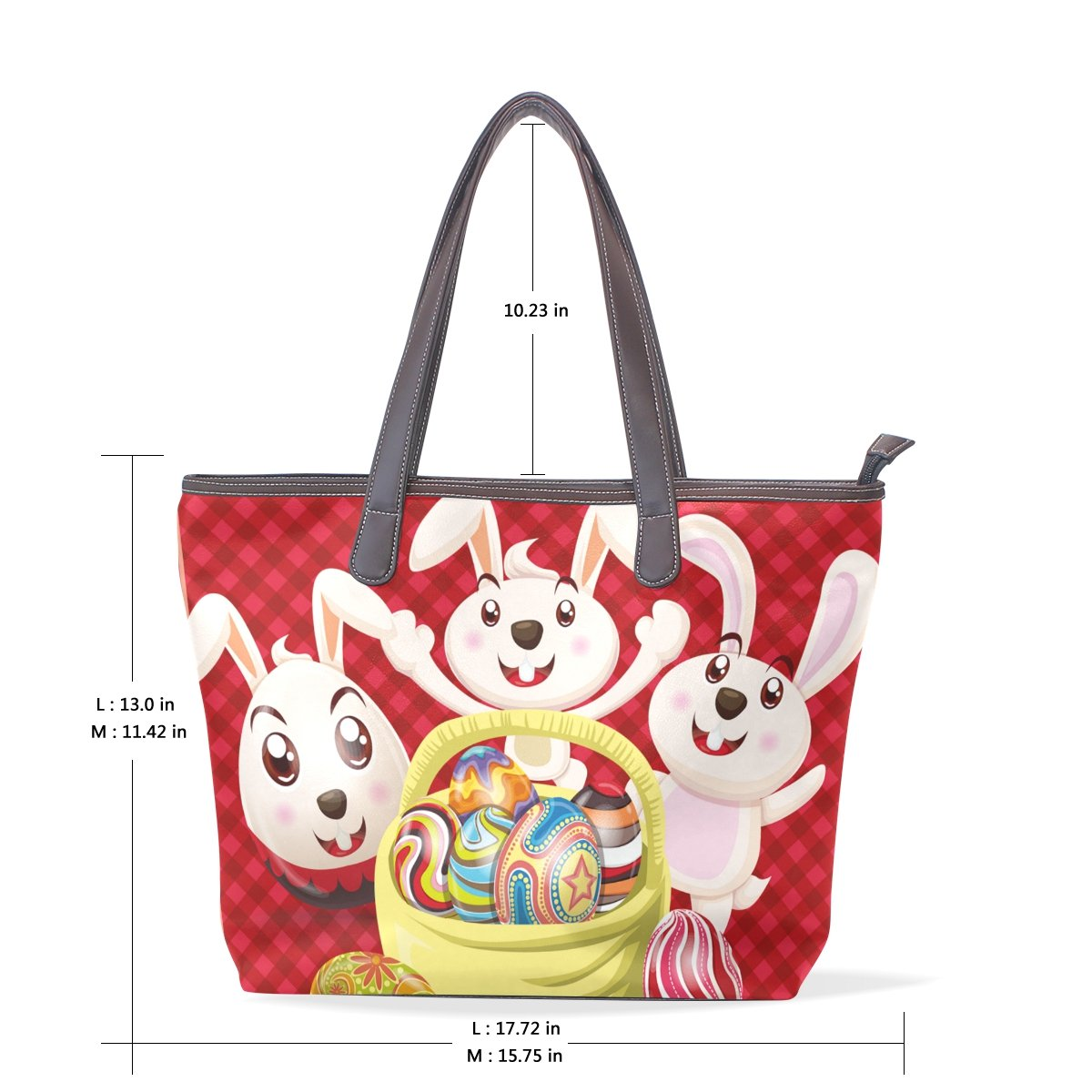 Happy Easter Day Bunny Egg Womens Fashion Large Shoulder Bag Handbag Tote Purse for Lady