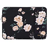 MOSISO Laptop Sleeve Bag Only Compatible with MacBook 12 inch with Retina Display A1534 2017/2016/2015 Release, Vertical Style Water Repellent Polyester Protective Case Cover with Pocket, Apricot Peony