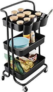 alvorog 3-Tier Rolling Utility Cart Movable Storage Organizer Shelves with Wheels and Hanging Cups Multifunctional Service Cart for Kitchen, Office, Coffee Bar-Black