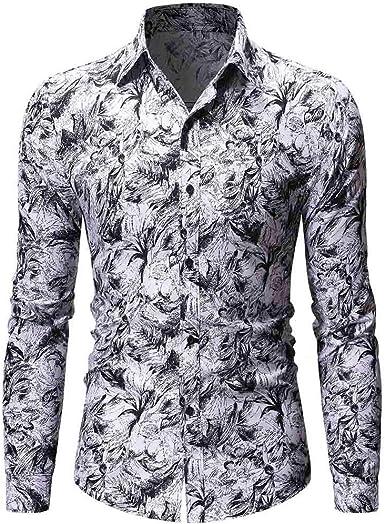 Berimaterry Camisas de Hombre Manga Larga Otoño Invierno Vintage Denim Camiseta Blusa para Hombres Camisa Slim Fit Otoño Invierno Informal Botón Floral Junior Boys Camiseta Tops de Trabajo: Amazon.es: Ropa y accesorios