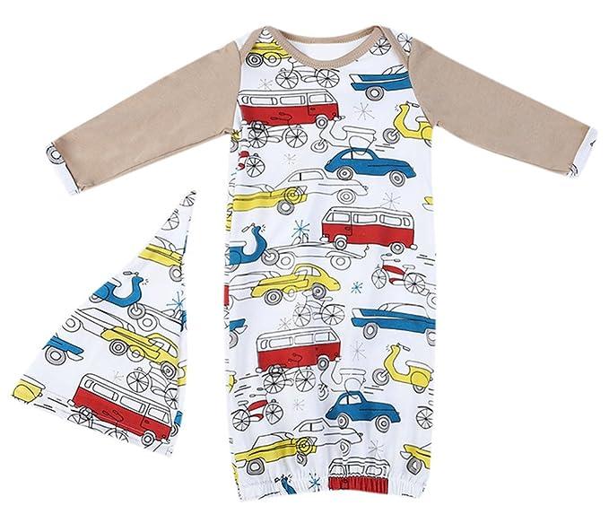 Amazon.com: Newborn Baby Boys Girls Cartoon Car Sleeper Gown Long ...